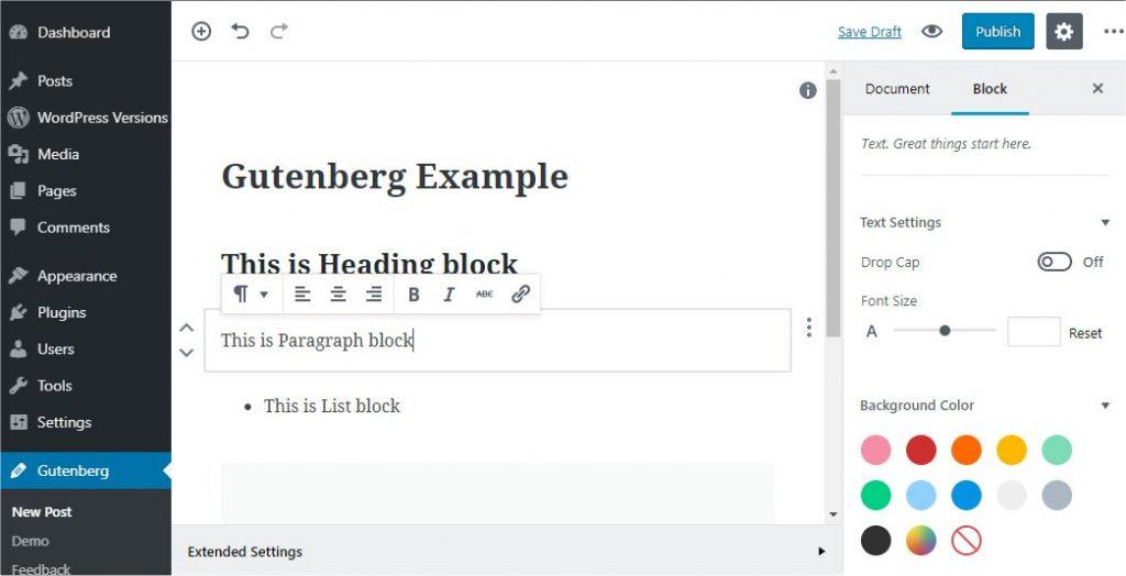 Wordpress Admin Gutenberg Editor